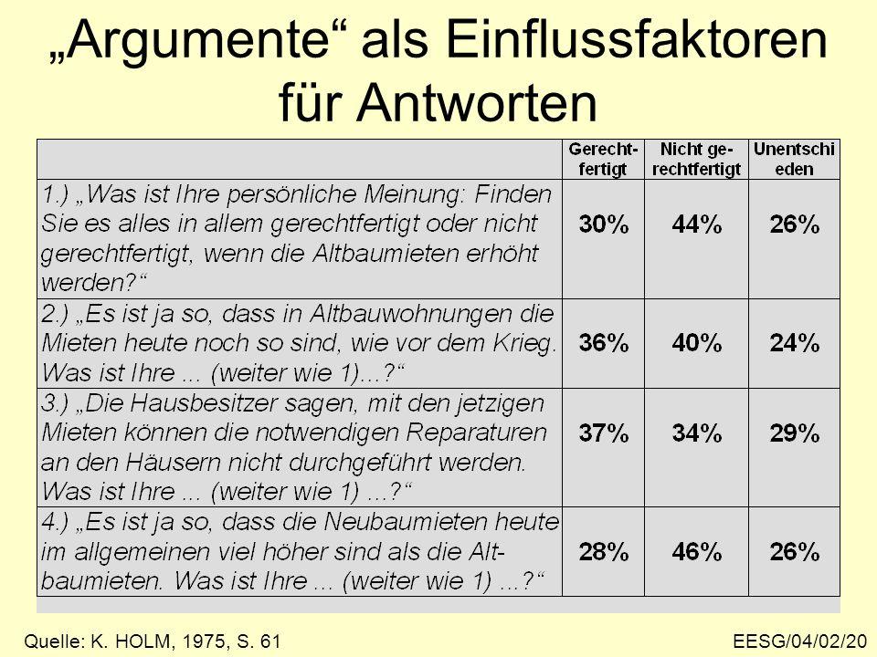 EESG/04/02/20 Argumente als Einflussfaktoren für Antworten Quelle: K. HOLM, 1975, S. 61