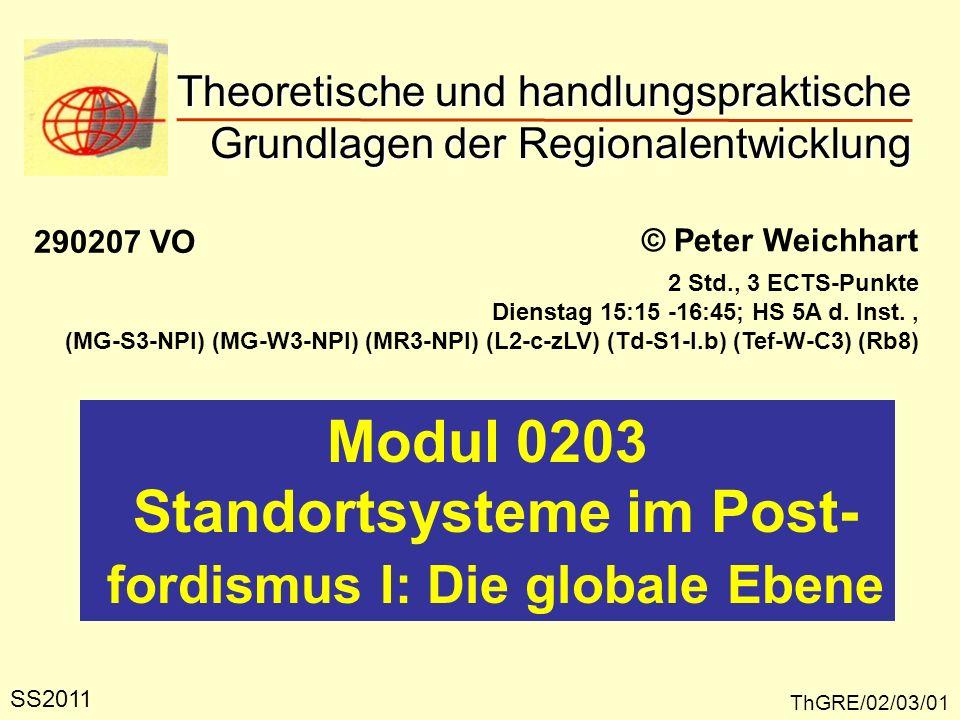 Theoretische und handlungspraktische Grundlagen der Regionalentwicklung ThGRE/02/03/01 © Peter Weichhart Modul 0203 Standortsysteme im Post- fordismus