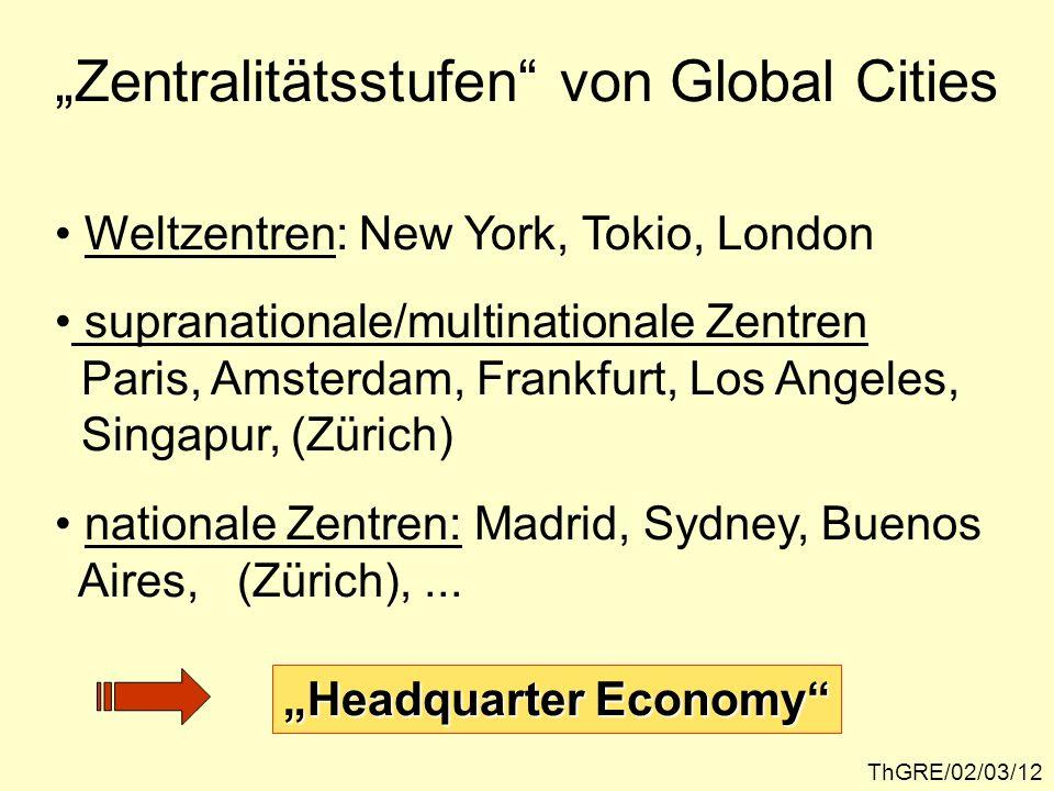 ThGRE/02/03/12 Zentralitätsstufen von Global Cities Weltzentren: New York, Tokio, London supranationale/multinationale Zentren Paris, Amsterdam, Frank