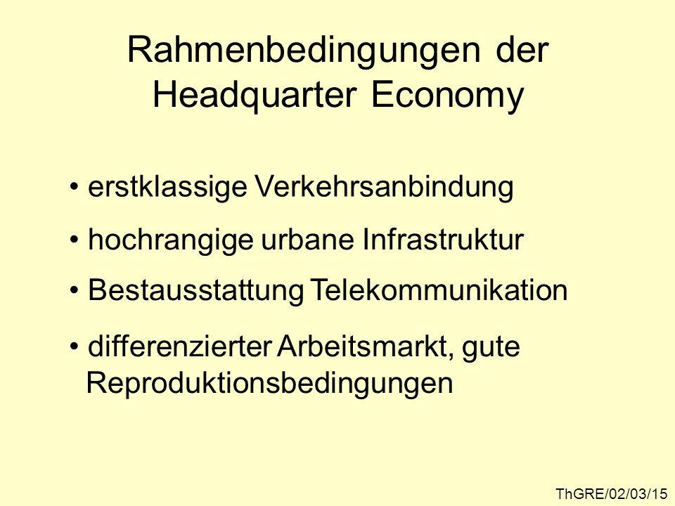 ThGRE/02/03/15 Rahmenbedingungen der Headquarter Economy erstklassige Verkehrsanbindung hochrangige urbane Infrastruktur Bestausstattung Telekommunika