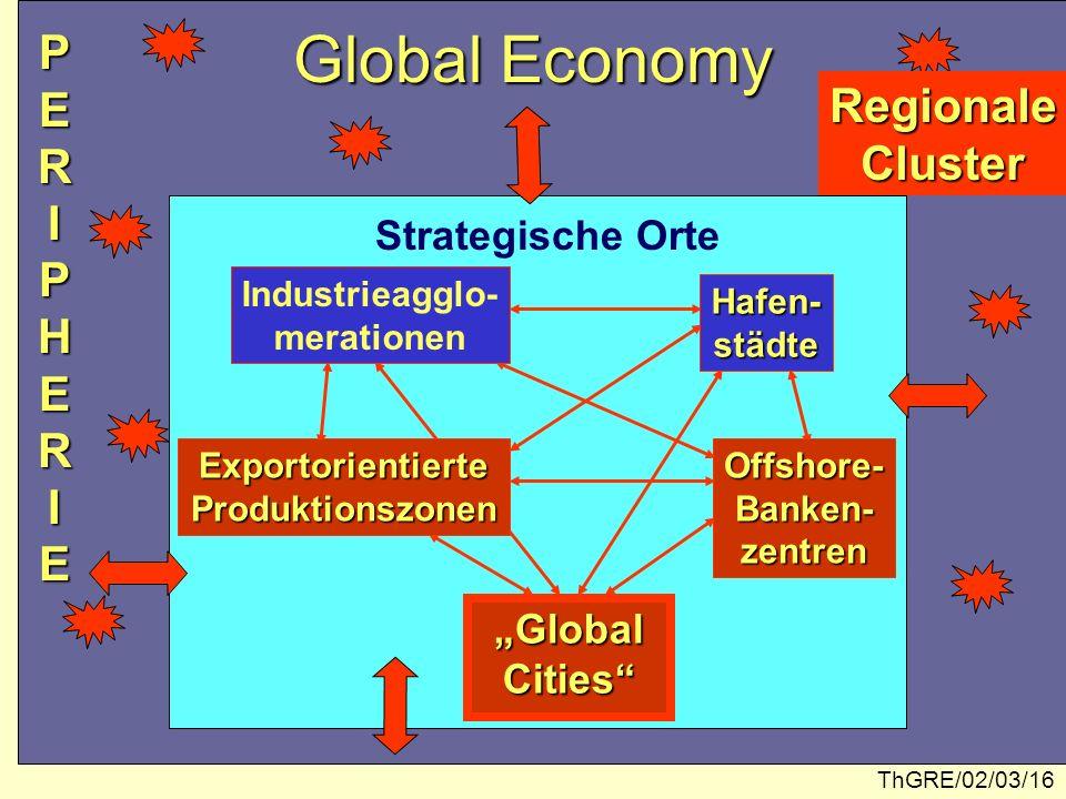 ThGRE/02/03/16 Global Economy Industrieagglo- merationen Hafen-städte ExportorientierteProduktionszonenOffshore-Banken-zentren Global GlobalCities Str