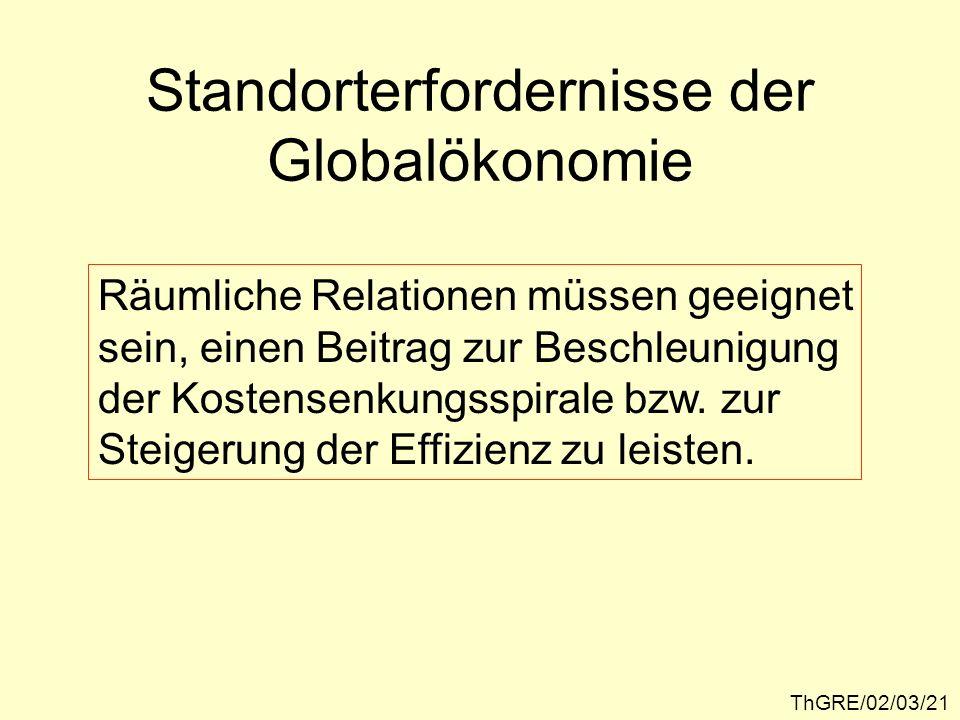 ThGRE/02/03/21 Standorterfordernisse der Globalökonomie Räumliche Relationen müssen geeignet sein, einen Beitrag zur Beschleunigung der Kostensenkungs