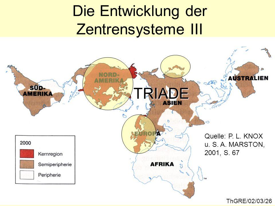 ThGRE/02/03/26 Die Entwicklung der Zentrensysteme III TRIADE Quelle: P. L. KNOX u. S. A. MARSTON, 2001, S. 67
