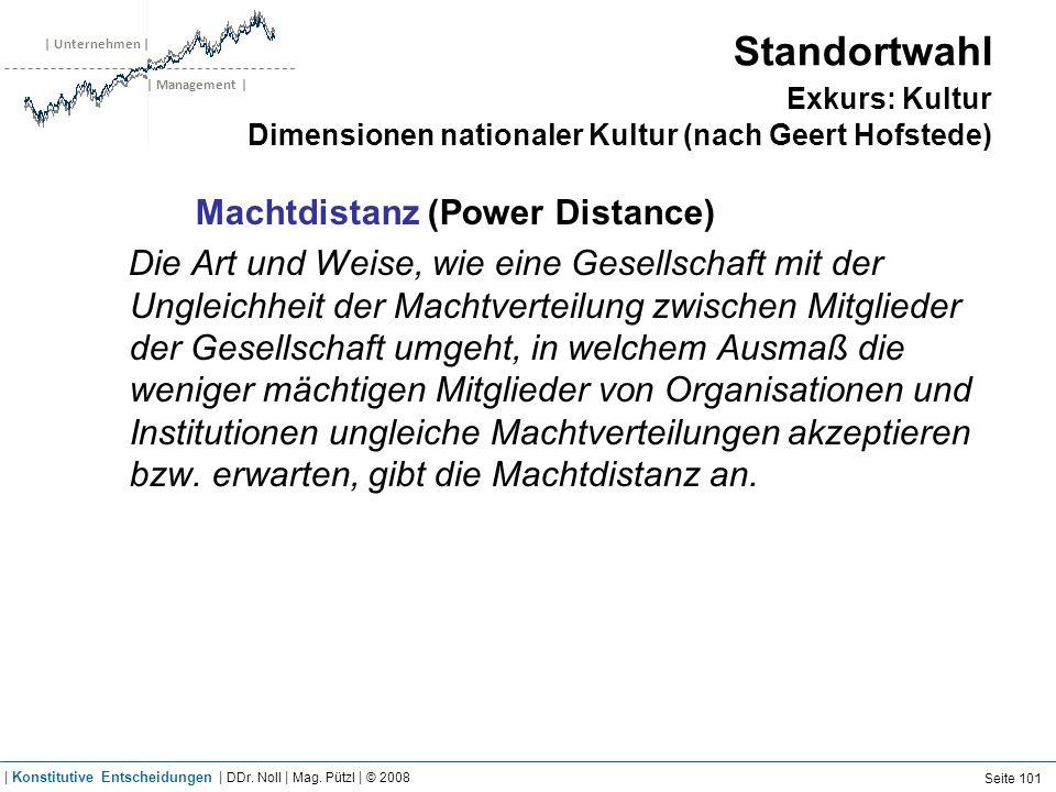 | Unternehmen | | Management | Standortwahl Exkurs: Kultur Dimensionen nationaler Kultur (nach Geert Hofstede) Machtdistanz (Power Distance) Die Art u