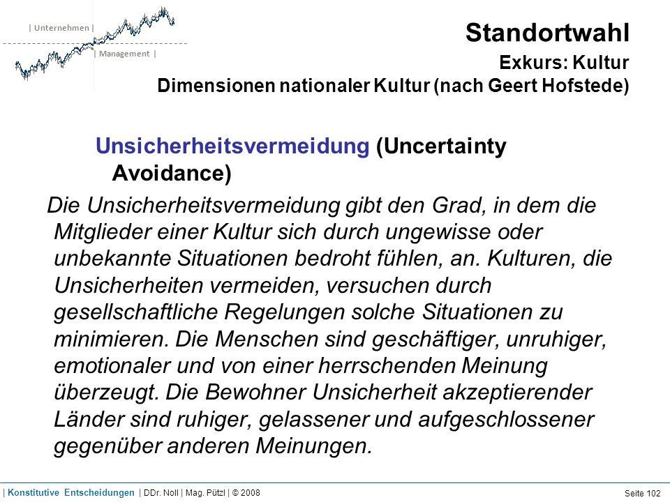 | Unternehmen | | Management | Standortwahl Exkurs: Kultur Dimensionen nationaler Kultur (nach Geert Hofstede) Unsicherheitsvermeidung (Uncertainty Av