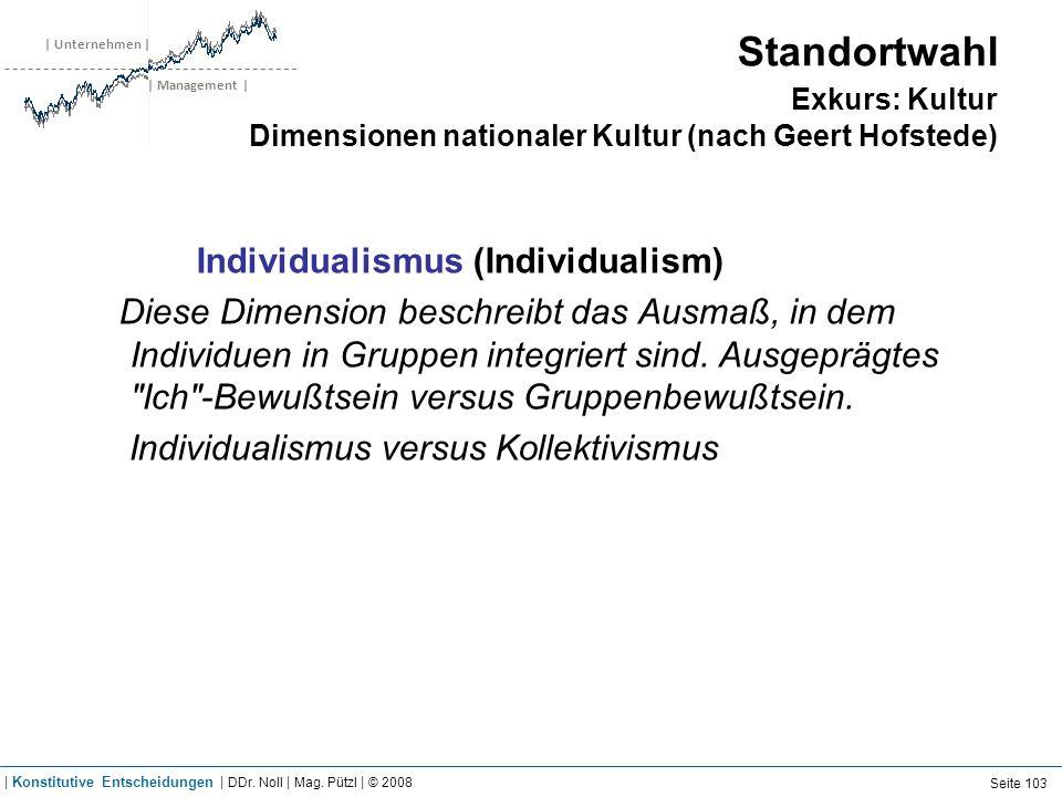 | Unternehmen | | Management | Standortwahl Exkurs: Kultur Dimensionen nationaler Kultur (nach Geert Hofstede) Individualismus (Individualism) Diese D