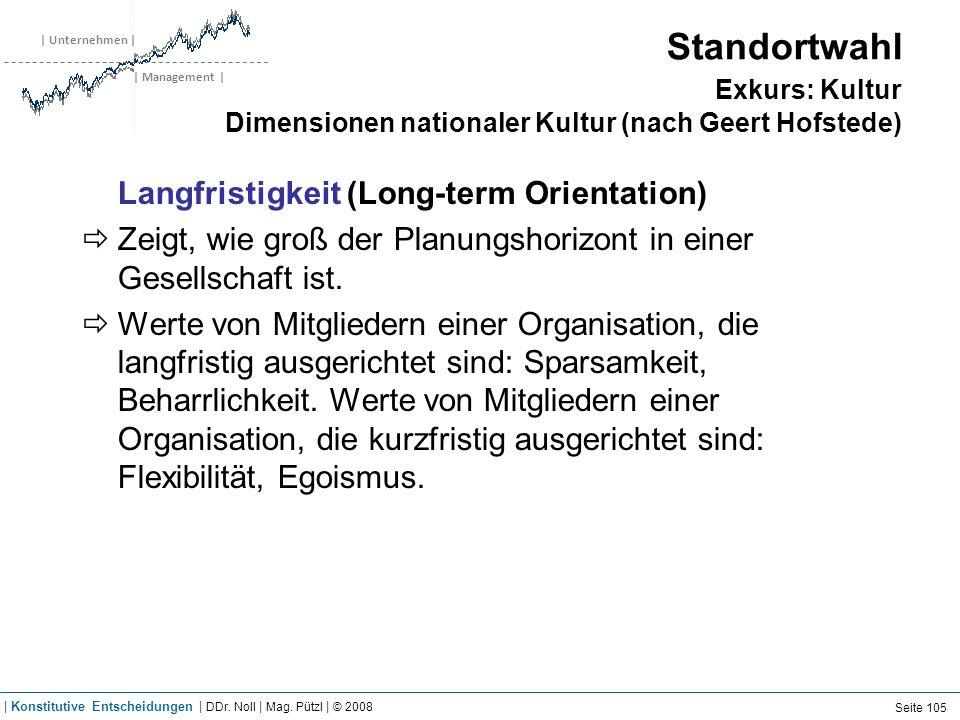 | Unternehmen | | Management | Standortwahl Exkurs: Kultur Dimensionen nationaler Kultur (nach Geert Hofstede) Langfristigkeit (Long-term Orientation)