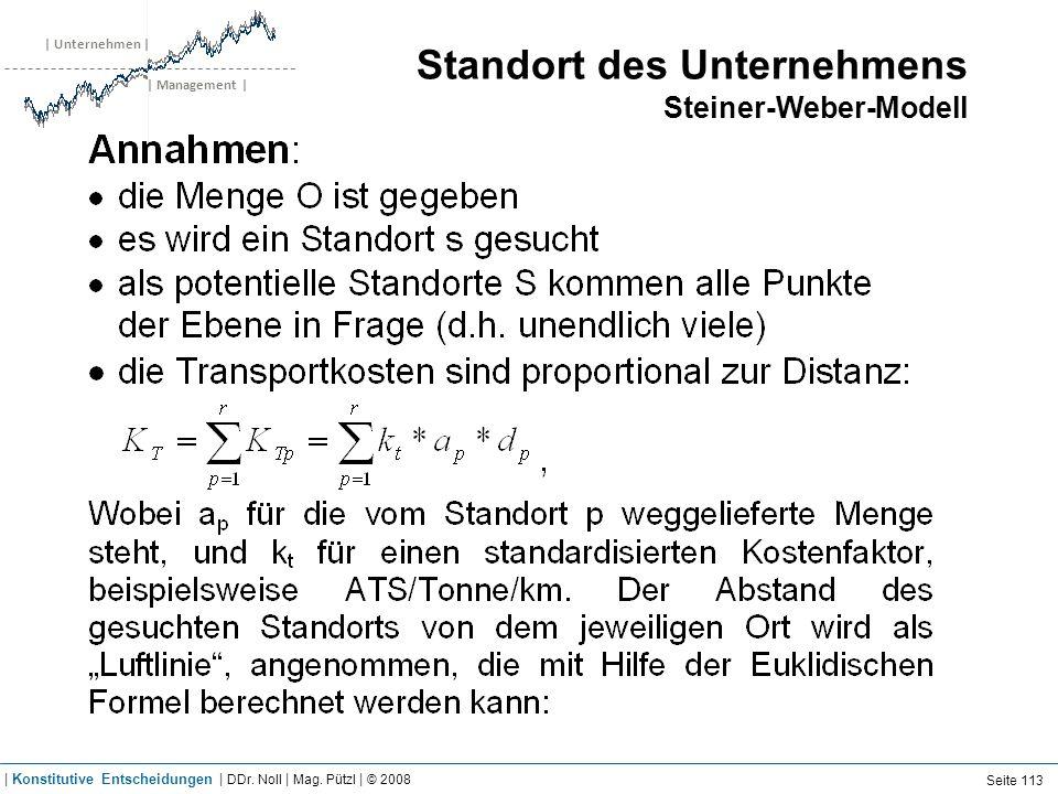 | Unternehmen | | Management | Standort des Unternehmens Steiner-Weber-Modell Seite 113 | Konstitutive Entscheidungen | DDr. Noll | Mag. Pützl | © 200