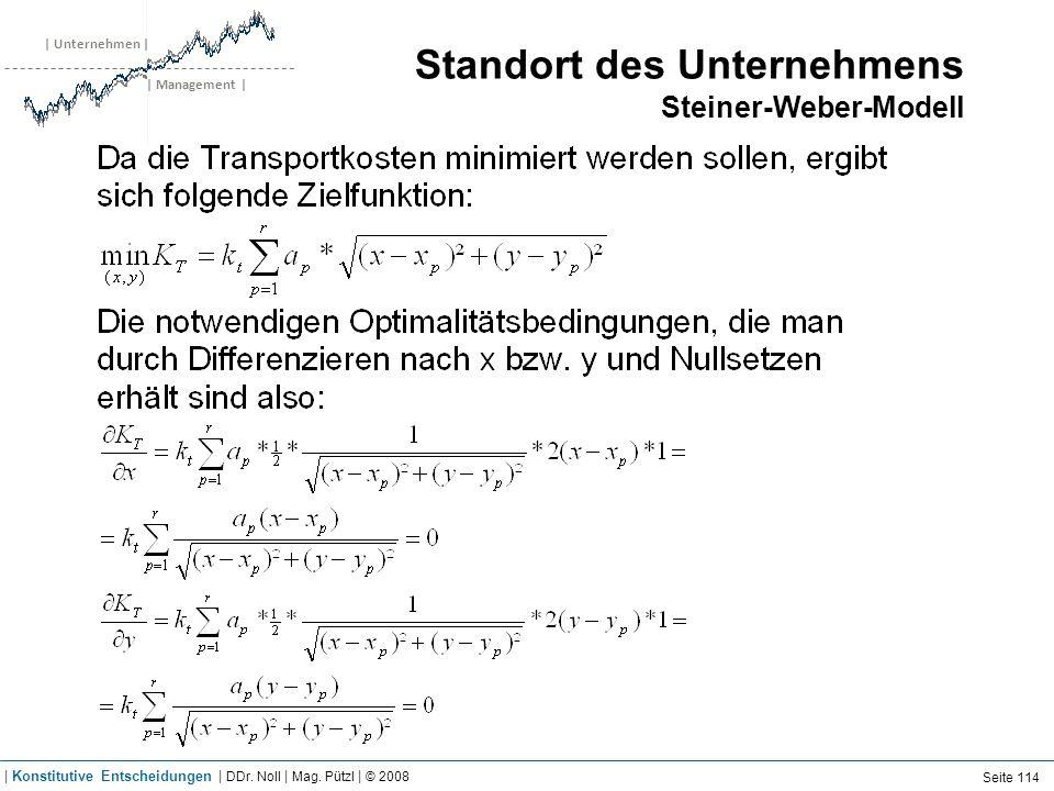 | Unternehmen | | Management | Standort des Unternehmens Steiner-Weber-Modell Seite 114 | Konstitutive Entscheidungen | DDr. Noll | Mag. Pützl | © 200