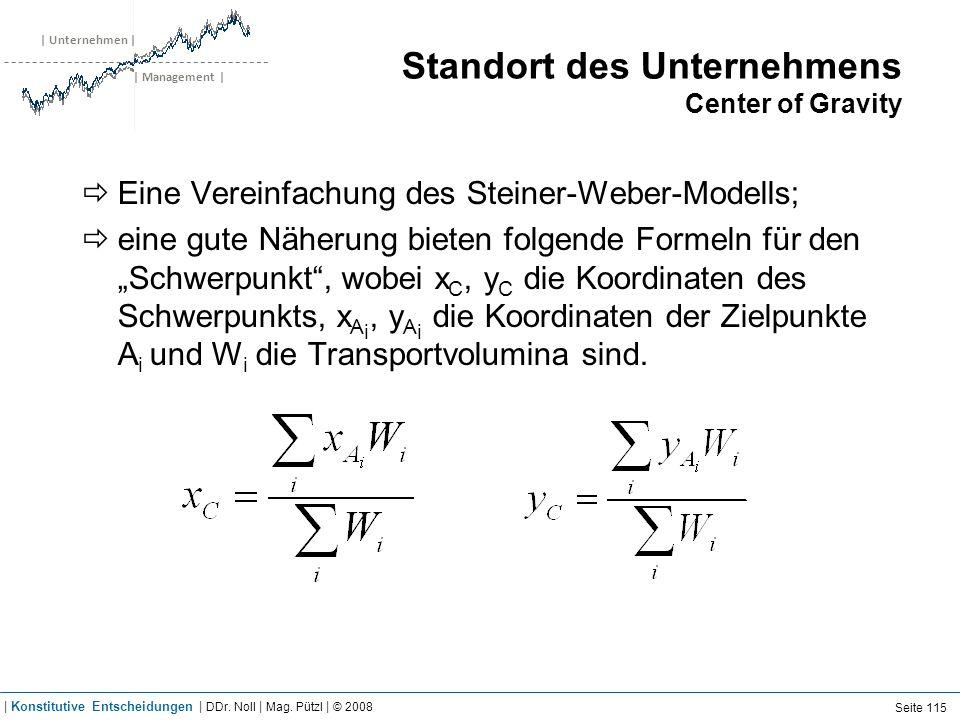 | Unternehmen | | Management | Standort des Unternehmens Center of Gravity Eine Vereinfachung des Steiner-Weber-Modells; eine gute Näherung bieten fol