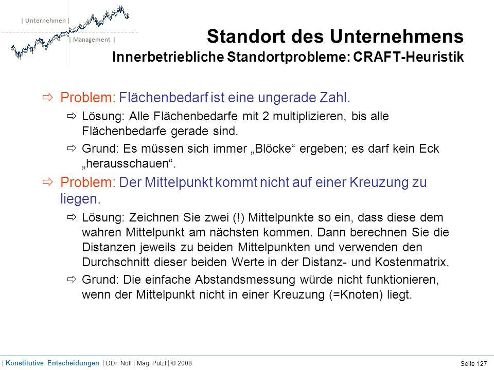 | Unternehmen | | Management | Standort des Unternehmens Innerbetriebliche Standortprobleme: CRAFT-Heuristik Problem: Flächenbedarf ist eine ungerade