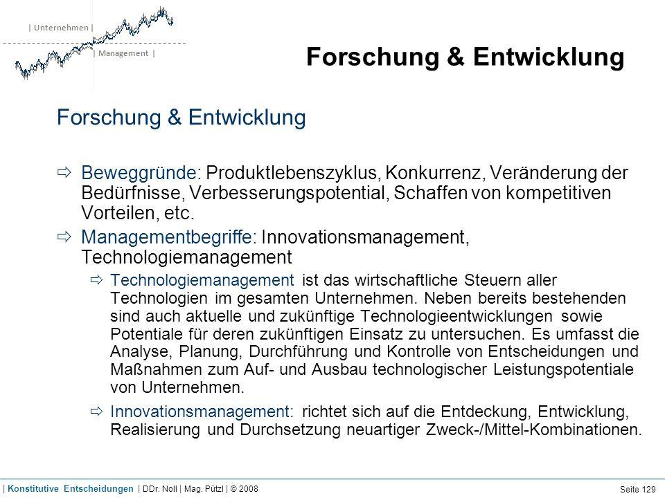 | Unternehmen | | Management | Forschung & Entwicklung Beweggründe: Produktlebenszyklus, Konkurrenz, Veränderung der Bedürfnisse, Verbesserungspotenti
