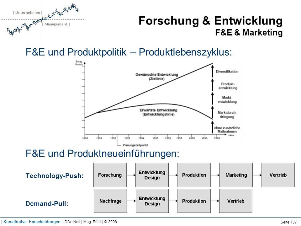 | Unternehmen | | Management | Forschung & Entwicklung F&E & Marketing F&E und Produktpolitik – Produktlebenszyklus: F&E und Produktneueinführungen: T