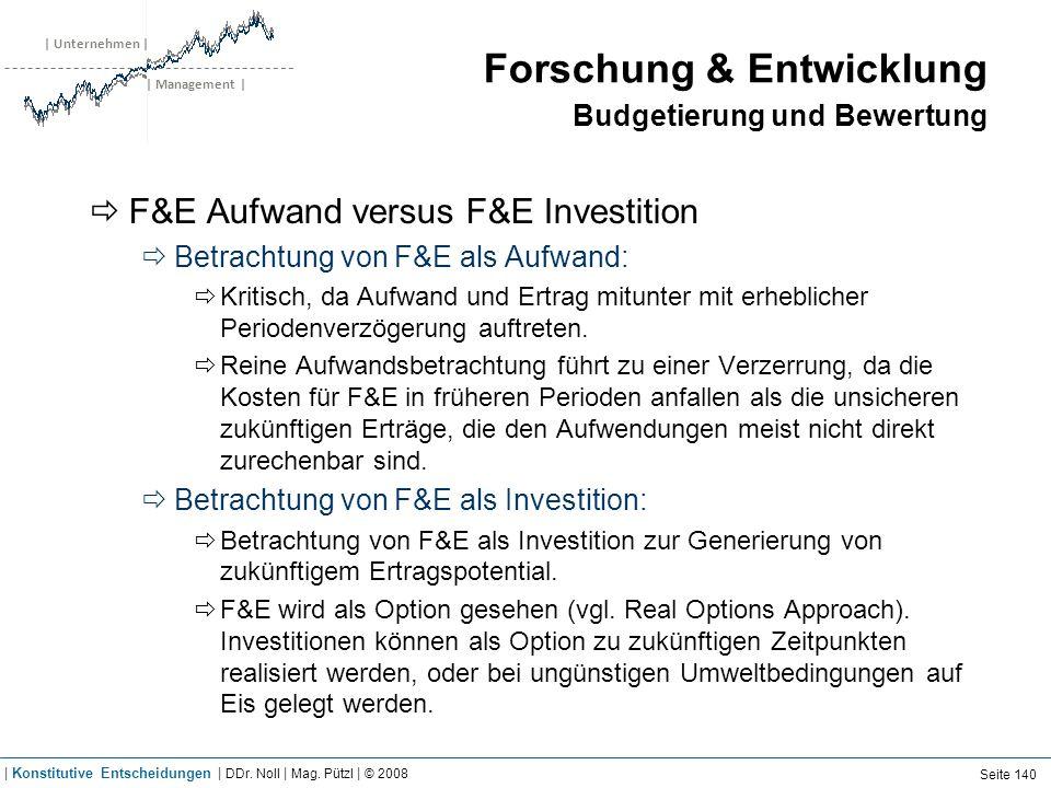 | Unternehmen | | Management | Forschung & Entwicklung Budgetierung und Bewertung F&E Aufwand versus F&E Investition Betrachtung von F&E als Aufwand: