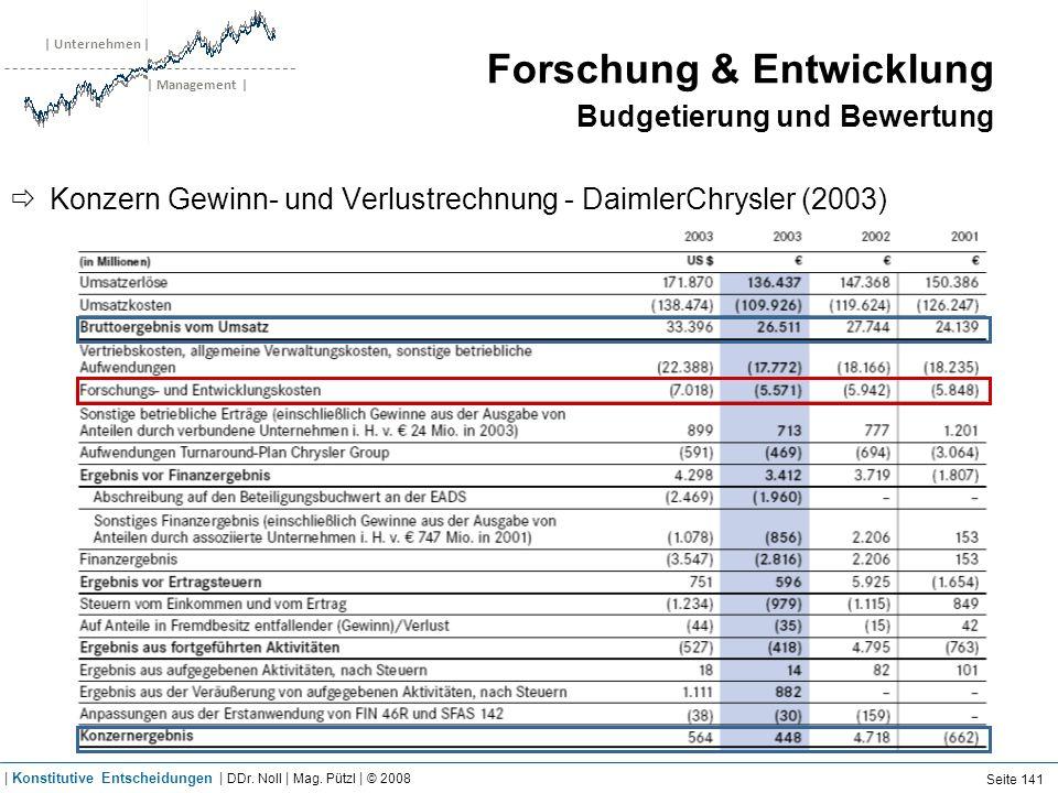 | Unternehmen | | Management | Forschung & Entwicklung Budgetierung und Bewertung Konzern Gewinn- und Verlustrechnung - DaimlerChrysler (2003) Seite 1