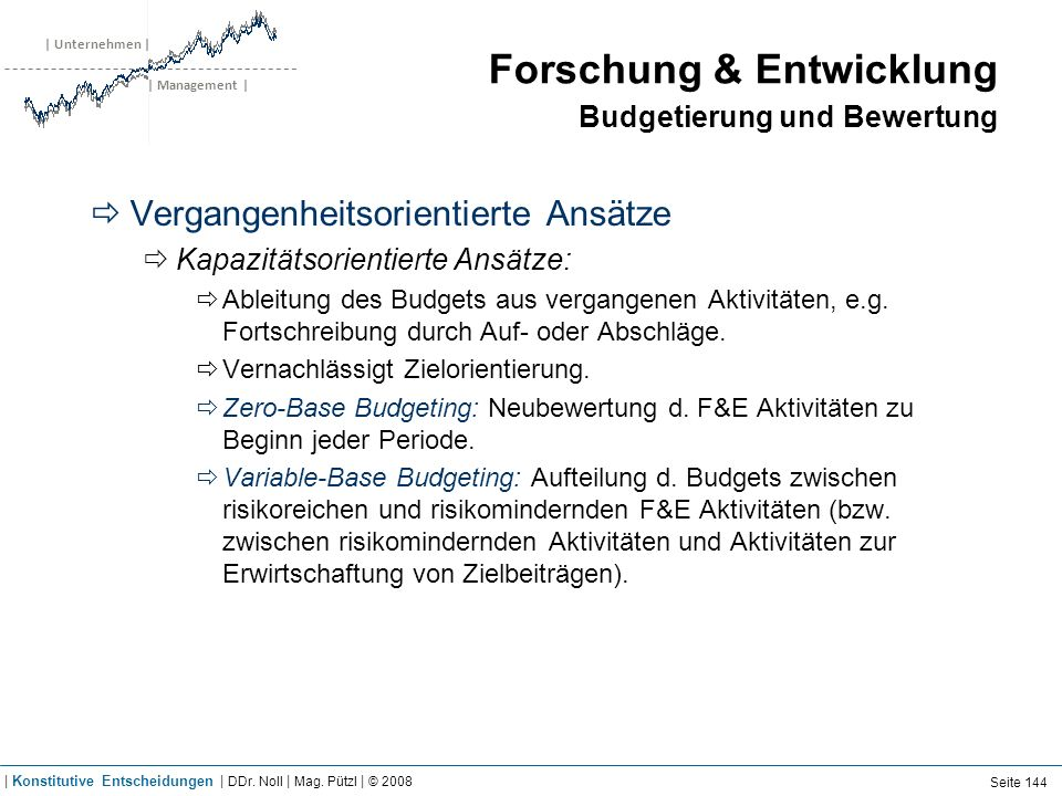 | Unternehmen | | Management | Forschung & Entwicklung Budgetierung und Bewertung Vergangenheitsorientierte Ansätze Kapazitätsorientierte Ansätze: Abl