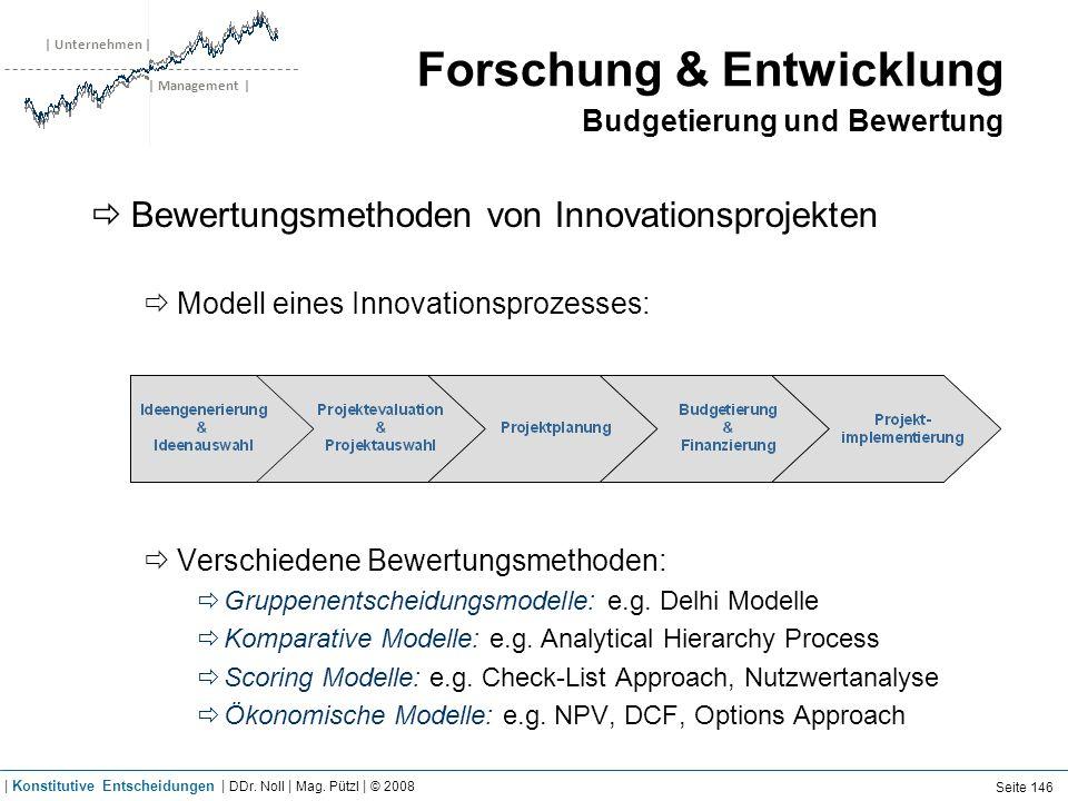 | Unternehmen | | Management | Forschung & Entwicklung Budgetierung und Bewertung Bewertungsmethoden von Innovationsprojekten Modell eines Innovations