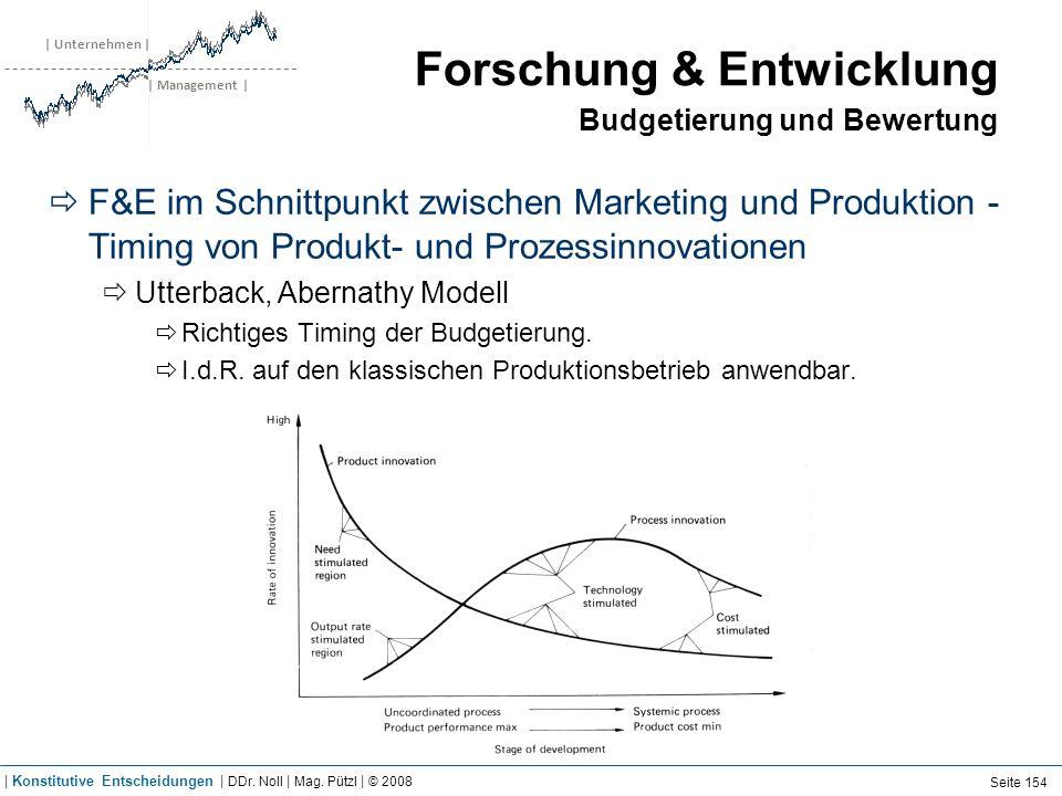 | Unternehmen | | Management | Forschung & Entwicklung Budgetierung und Bewertung F&E im Schnittpunkt zwischen Marketing und Produktion - Timing von P