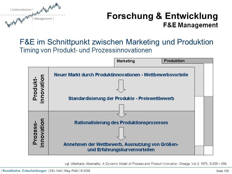 | Unternehmen | | Management | Forschung & Entwicklung F&E Management F&E im Schnittpunkt zwischen Marketing und Produktion Timing von Produkt- und Pr