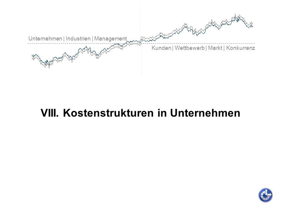 Unternehmen | Industrien | Management Kunden | Wettbewerb | Markt | Konkurrenz VIII. Kostenstrukturen in Unternehmen