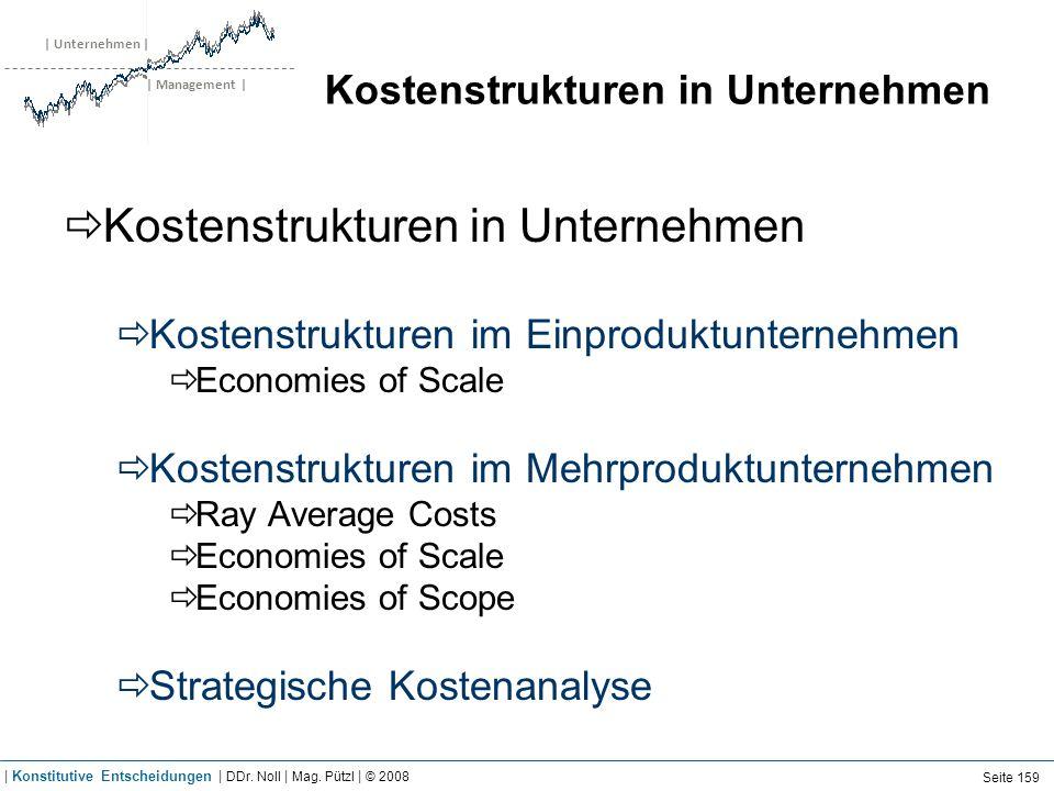 | Unternehmen | | Management | Kostenstrukturen in Unternehmen Kostenstrukturen im Einproduktunternehmen Economies of Scale Kostenstrukturen im Mehrpr