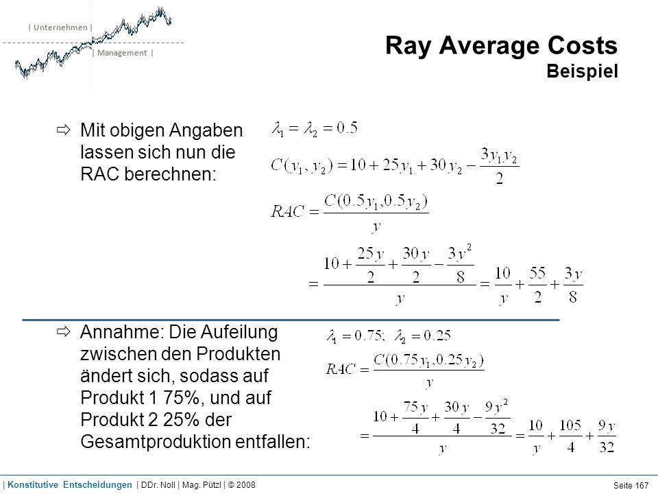 | Unternehmen | | Management | Ray Average Costs Beispiel Mit obigen Angaben lassen sich nun die RAC berechnen: Annahme: Die Aufeilung zwischen den Pr