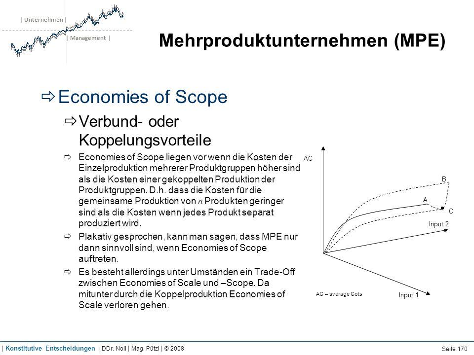 | Unternehmen | | Management | Mehrproduktunternehmen (MPE) Economies of Scope Verbund- oder Koppelungsvorteile Economies of Scope liegen vor wenn die