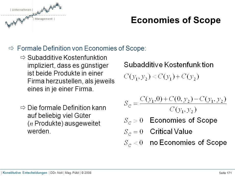 | Unternehmen | | Management | Economies of Scope Formale Definition von Economies of Scope: Subadditive Kostenfunktion impliziert, dass es günstiger