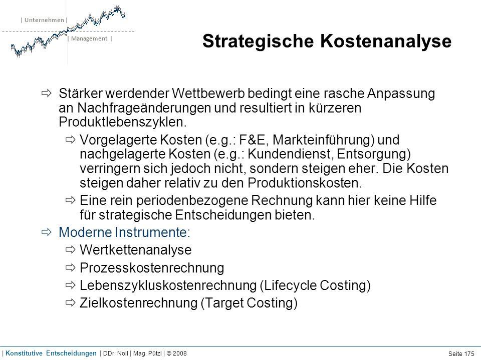 | Unternehmen | | Management | Strategische Kostenanalyse Stärker werdender Wettbewerb bedingt eine rasche Anpassung an Nachfrageänderungen und result