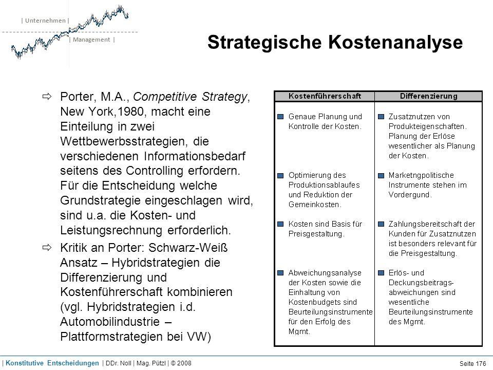 | Unternehmen | | Management | Strategische Kostenanalyse Porter, M.A., Competitive Strategy, New York,1980, macht eine Einteilung in zwei Wettbewerbs