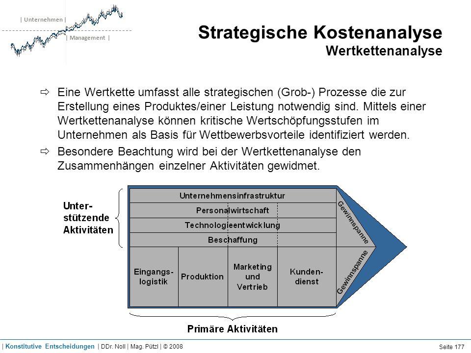 | Unternehmen | | Management | Strategische Kostenanalyse Wertkettenanalyse Eine Wertkette umfasst alle strategischen (Grob-) Prozesse die zur Erstell