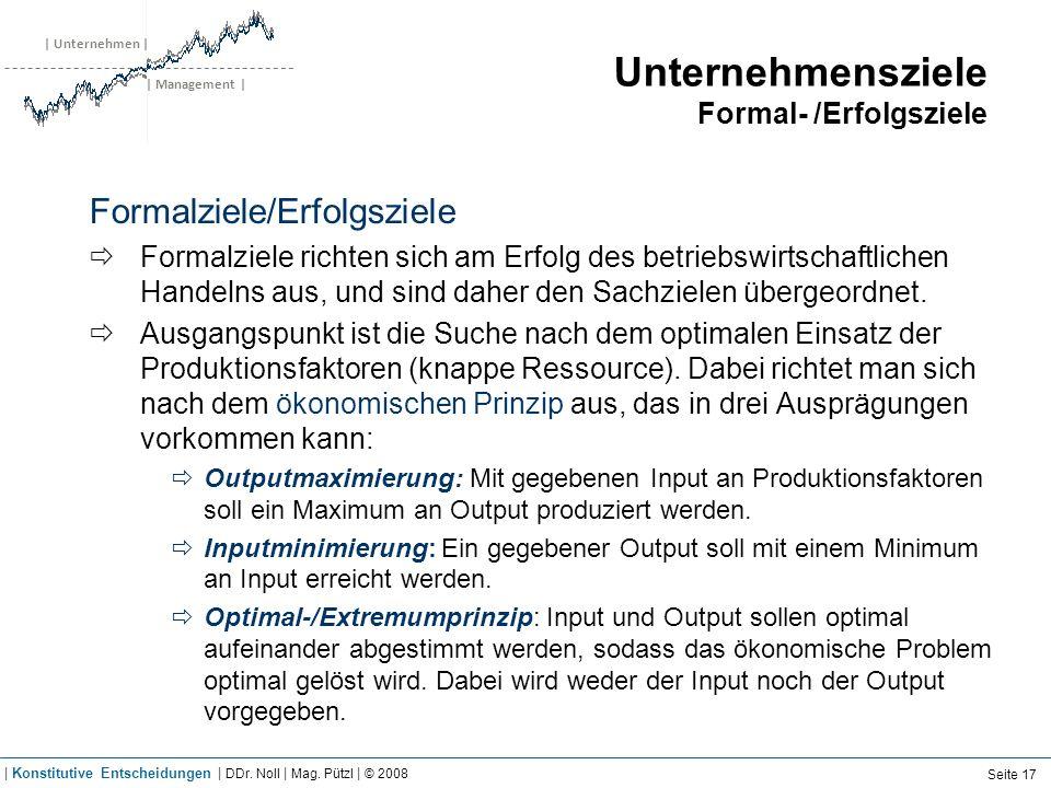 | Unternehmen | | Management | Unternehmensziele Formal- /Erfolgsziele Formalziele/Erfolgsziele Formalziele richten sich am Erfolg des betriebswirtsch