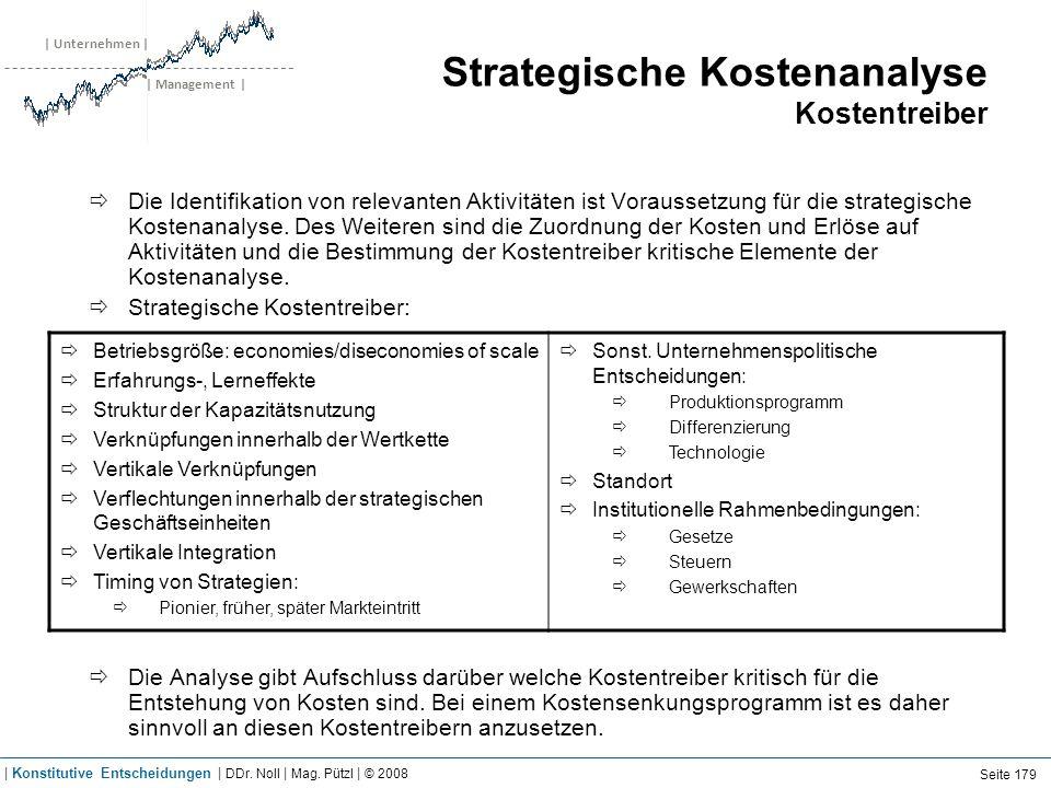| Unternehmen | | Management | Strategische Kostenanalyse Kostentreiber Die Identifikation von relevanten Aktivitäten ist Voraussetzung für die strate