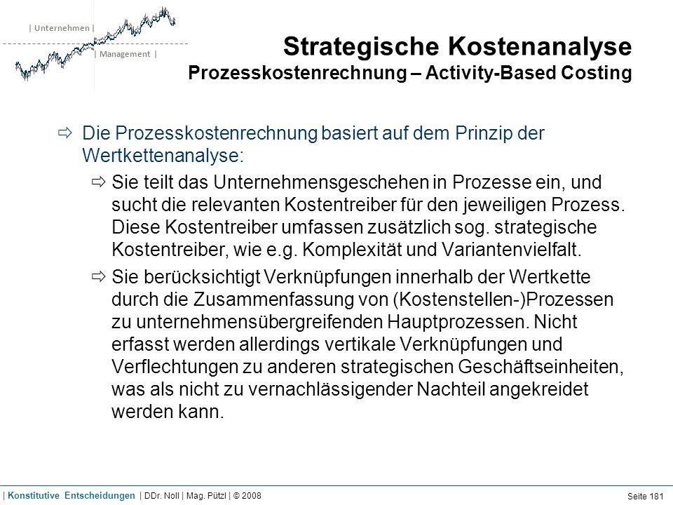 | Unternehmen | | Management | Strategische Kostenanalyse Prozesskostenrechnung – Activity-Based Costing Die Prozesskostenrechnung basiert auf dem Pri