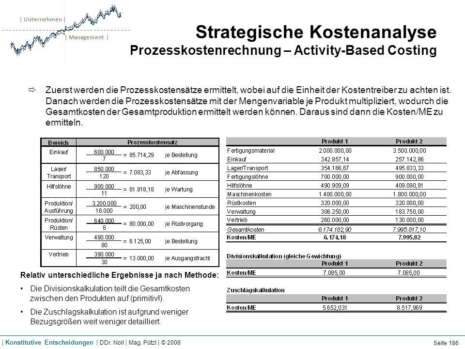 | Unternehmen | | Management | Strategische Kostenanalyse Prozesskostenrechnung – Activity-Based Costing Zuerst werden die Prozesskostensätze ermittel