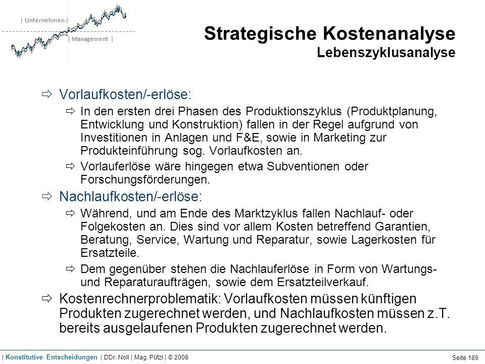 | Unternehmen | | Management | Strategische Kostenanalyse Lebenszyklusanalyse Vorlaufkosten/-erlöse: In den ersten drei Phasen des Produktionszyklus (