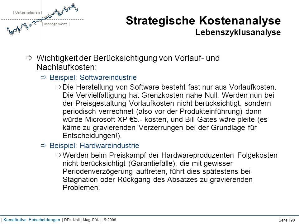 | Unternehmen | | Management | Strategische Kostenanalyse Lebenszyklusanalyse Wichtigkeit der Berücksichtigung von Vorlauf- und Nachlaufkosten: Beispi