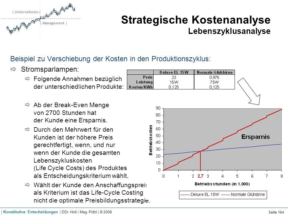 | Unternehmen | | Management | Strategische Kostenanalyse Lebenszyklusanalyse Beispiel zu Verschiebung der Kosten in den Produktionszyklus: Stromsparl