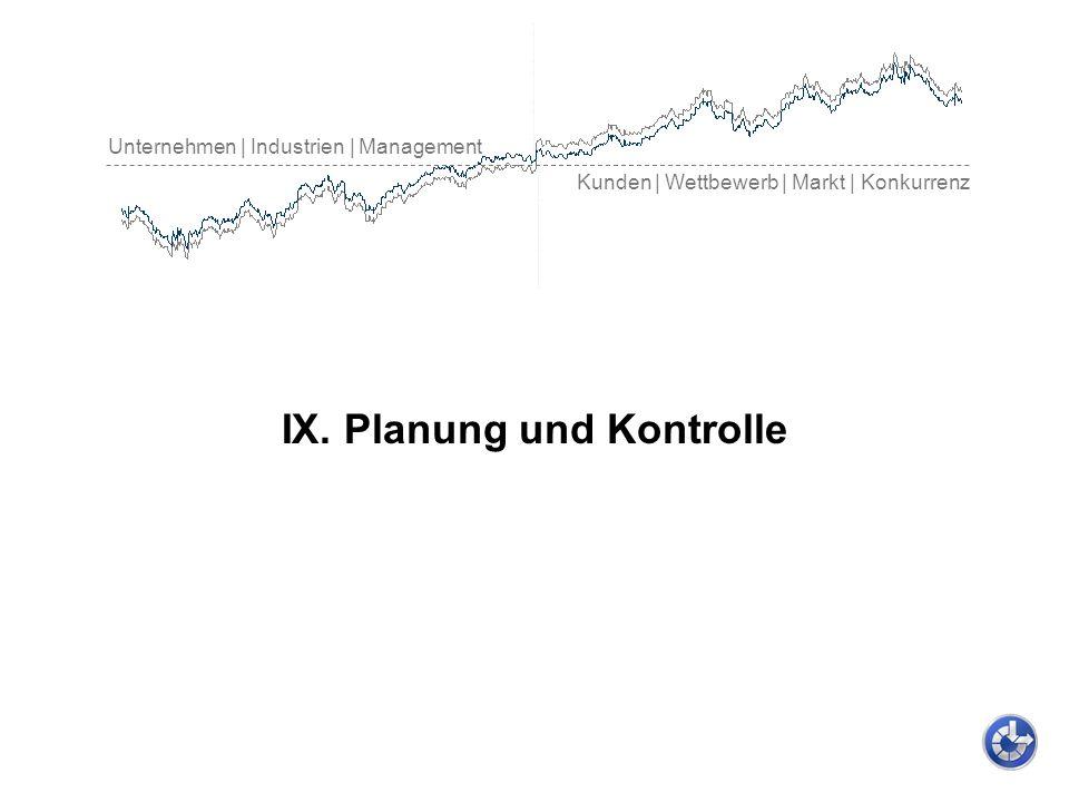 Unternehmen | Industrien | Management Kunden | Wettbewerb | Markt | Konkurrenz IX. Planung und Kontrolle