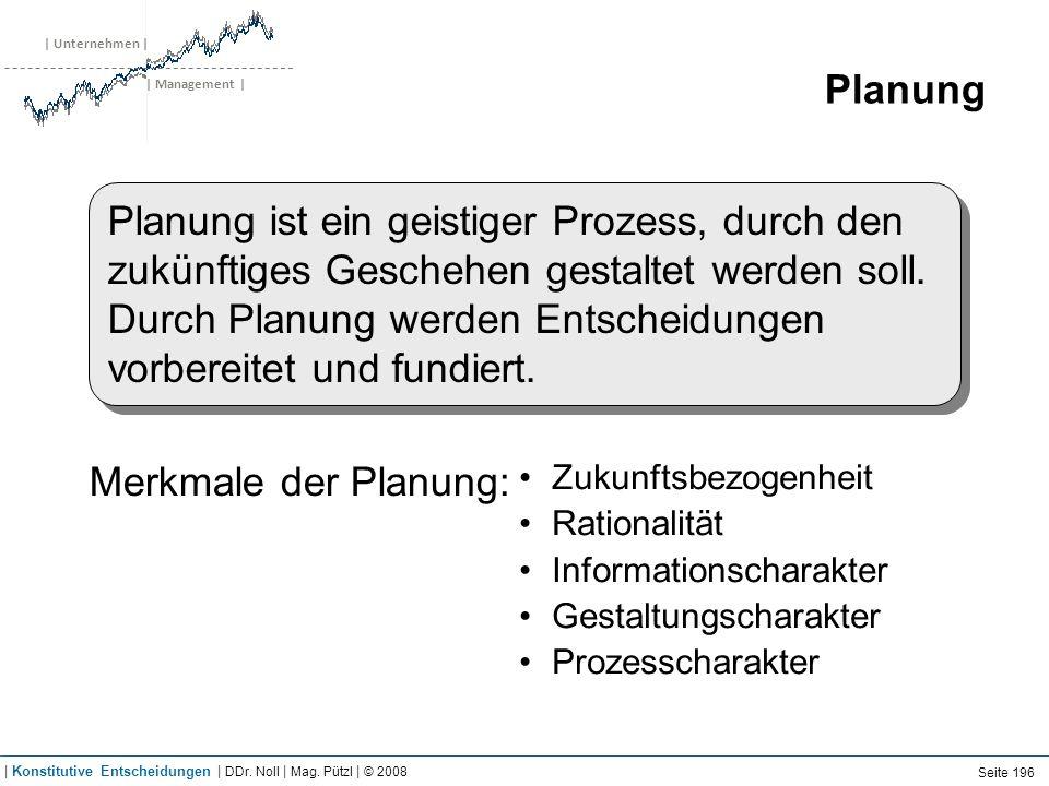 | Unternehmen | | Management | Planung Planung ist ein geistiger Prozess, durch den zukünftiges Geschehen gestaltet werden soll. Durch Planung werden