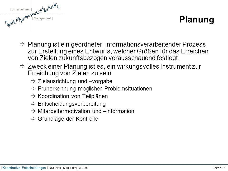 | Unternehmen | | Management | Planung Planung ist ein geordneter, informationsverarbeitender Prozess zur Erstellung eines Entwurfs, welcher Größen fü