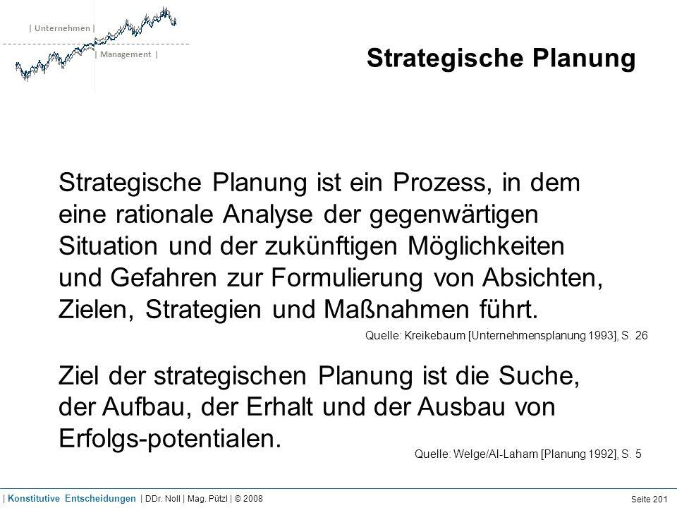 | Unternehmen | | Management | Strategische Planung Strategische Planung ist ein Prozess, in dem eine rationale Analyse der gegenwärtigen Situation un