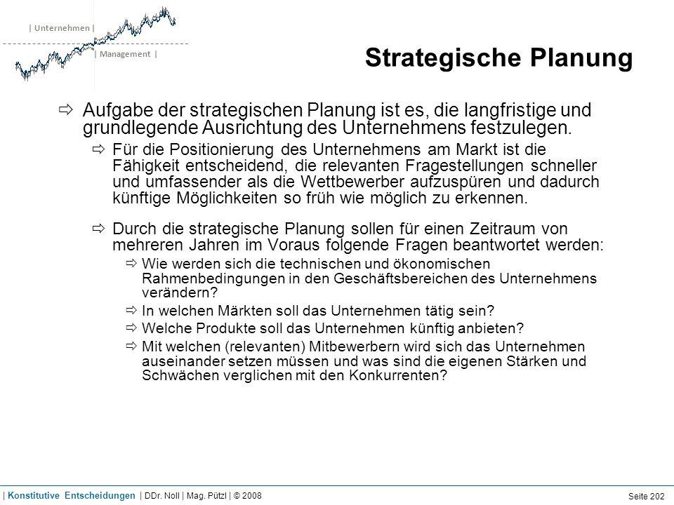 | Unternehmen | | Management | Strategische Planung Aufgabe der strategischen Planung ist es, die langfristige und grundlegende Ausrichtung des Untern