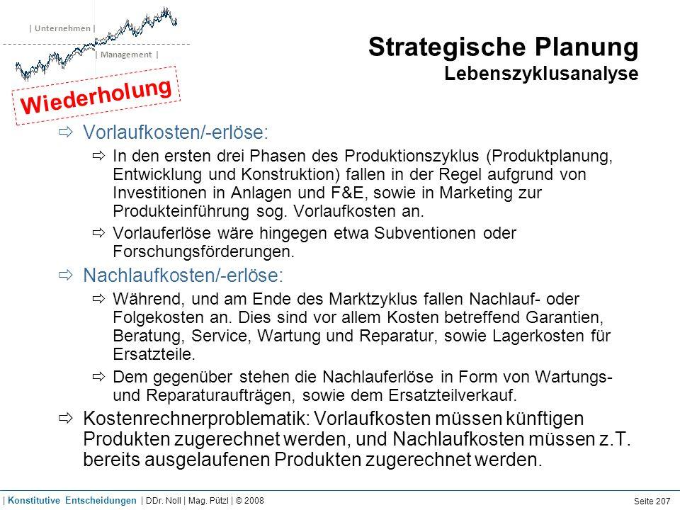 | Unternehmen | | Management | Strategische Planung Lebenszyklusanalyse Vorlaufkosten/-erlöse: In den ersten drei Phasen des Produktionszyklus (Produk