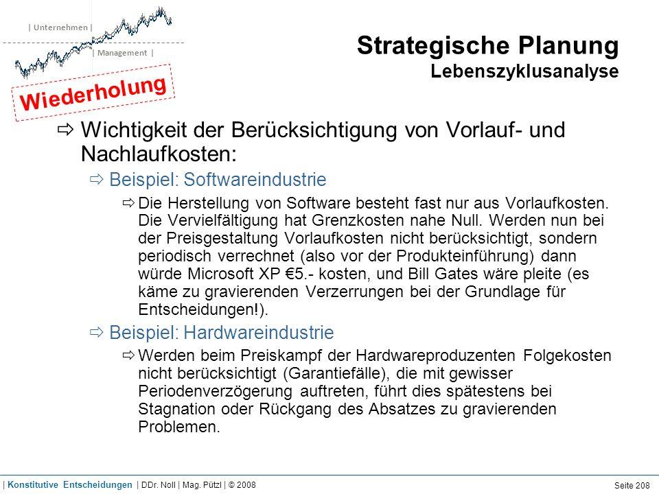 | Unternehmen | | Management | Strategische Planung Lebenszyklusanalyse Wichtigkeit der Berücksichtigung von Vorlauf- und Nachlaufkosten: Beispiel: So