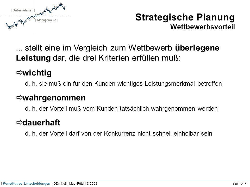| Unternehmen | | Management | Strategische Planung Wettbewerbsvorteil... stellt eine im Vergleich zum Wettbewerb überlegene Leistung dar, die drei Kr