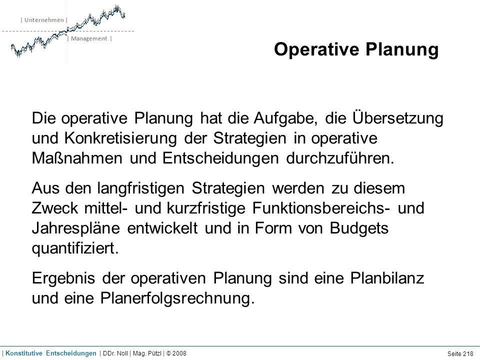 | Unternehmen | | Management | Operative Planung Die operative Planung hat die Aufgabe, die Übersetzung und Konkretisierung der Strategien in operativ