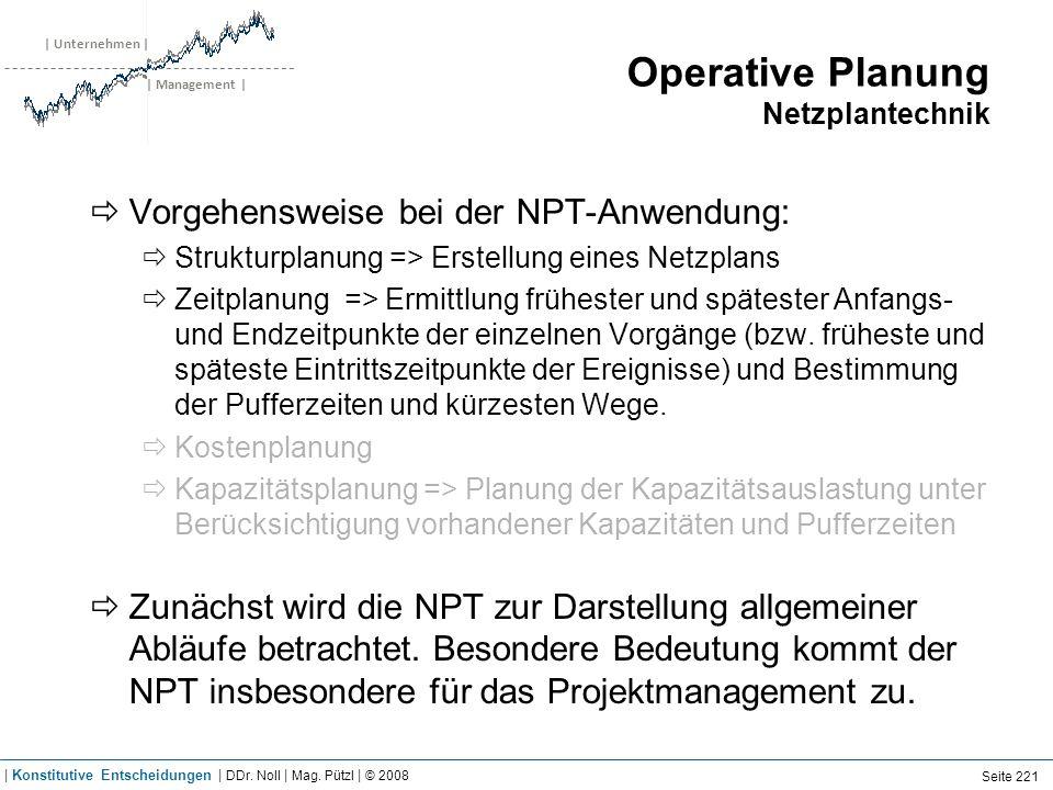 | Unternehmen | | Management | Operative Planung Netzplantechnik Vorgehensweise bei der NPT-Anwendung: Strukturplanung => Erstellung eines Netzplans Z