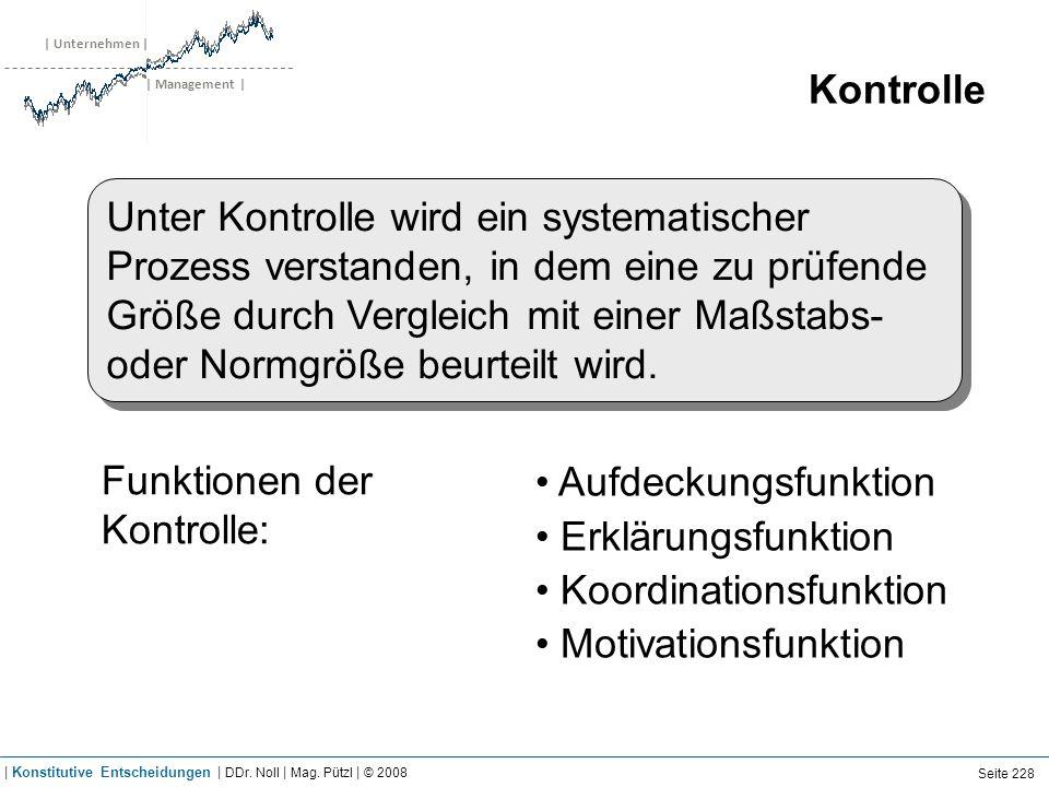 | Unternehmen | | Management | Kontrolle Unter Kontrolle wird ein systematischer Prozess verstanden, in dem eine zu prüfende Größe durch Vergleich mit