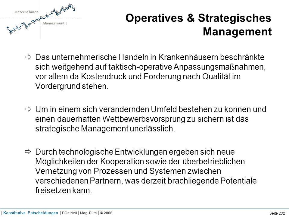| Unternehmen | | Management | Operatives & Strategisches Management Das unternehmerische Handeln in Krankenhäusern beschränkte sich weitgehend auf ta
